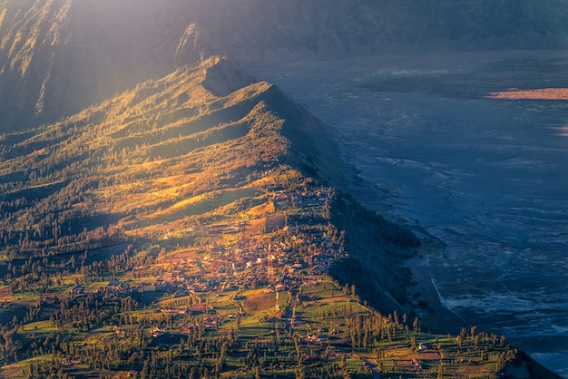 Cemoro lawang village at sunrise in bromo tengger semeru national park, east java, indonesia.
