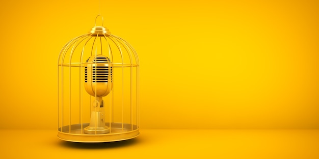 Censorship concept: microphone on a cage 3d rendering