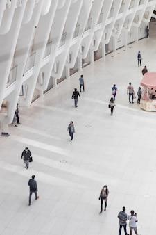 도시 건물에서 촬영 한 인구 조사 개념