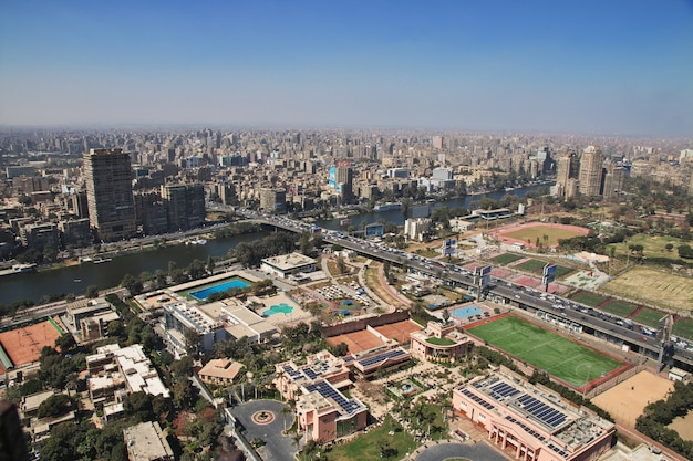 Center of cairo on nile river, egypt