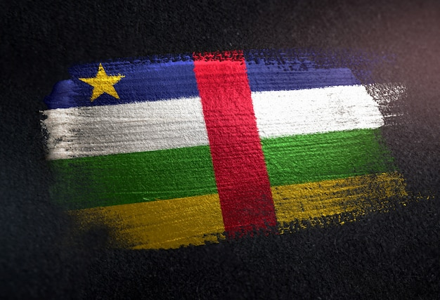 Central african republic flag made of metallic brush paint on grunge dark wall