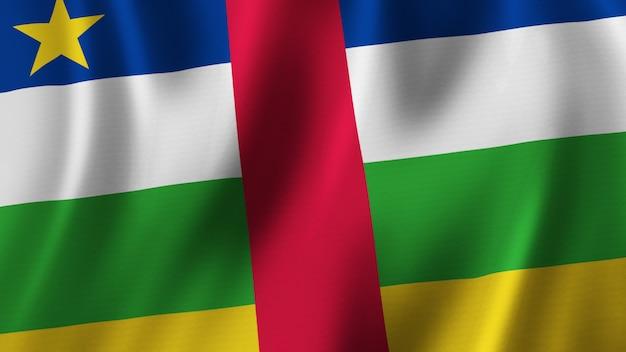 Флаг центральноафриканской республики развевается крупным планом 3d-рендеринг с высококачественным изображением с текстурой ткани