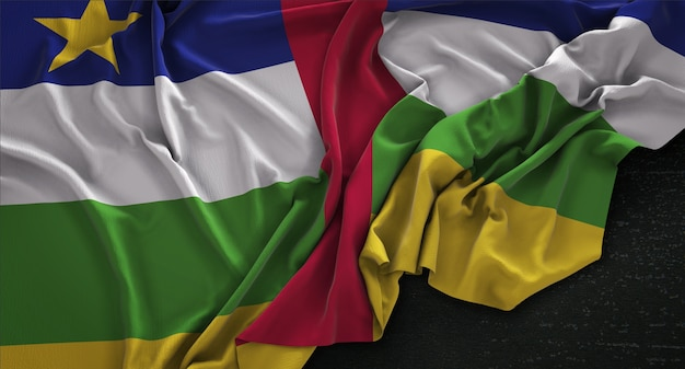 Флаг центрально-африканской республики, сморщенный на темном фоне 3d-рендер