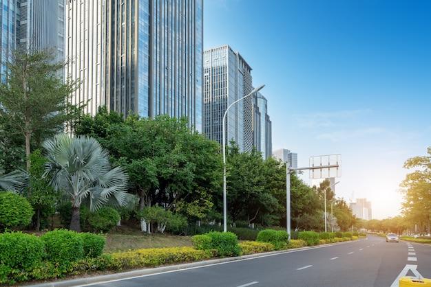 중앙 비즈니스 지구, 도로 및 고층 빌딩, 샤먼, 중국.