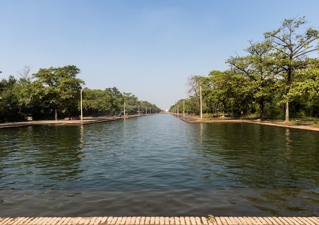 The central channel, temple complex of lumbini, nepal