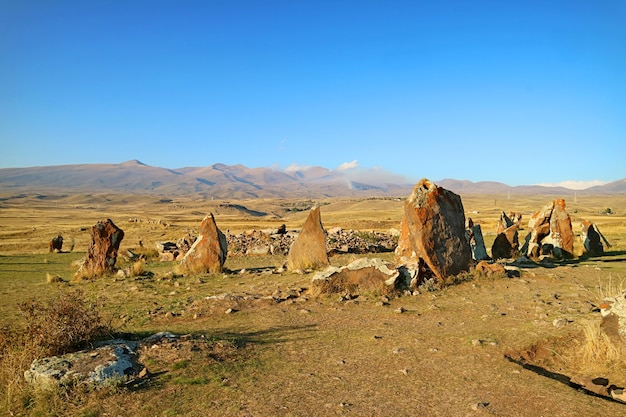 Central circle of carahunge, also called armenian stonehenge, a prehistoric archaeological site in armenia