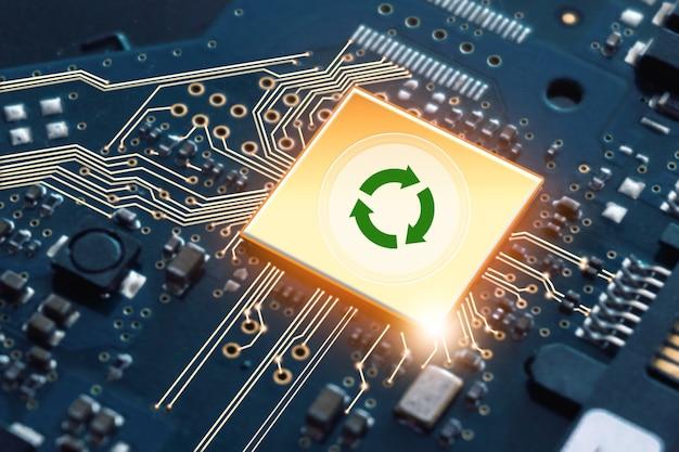 中央処理装置cpu。量子コンピューター、大規模データ処理、データベース。再生可能なグリーンエネルギーエコセービング技術と地球温暖化の概念。