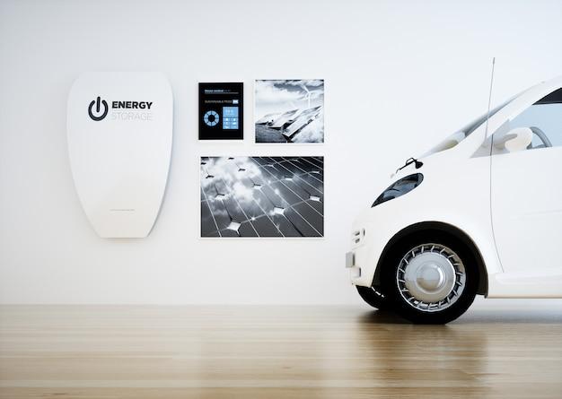 Центральная бытовая аккумуляторная батарея с цифровой панелью управления и автомобилем. 3d-рендеринг.
