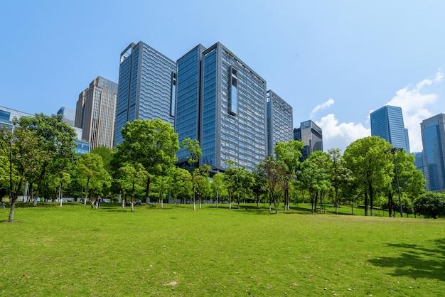 セントラルパークの芝生とオフィスビル