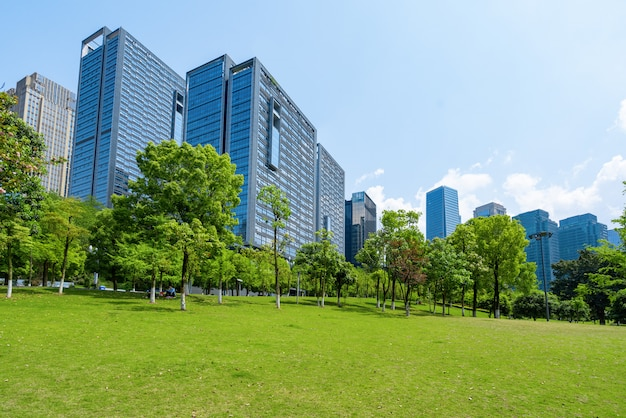 Central park lawn and financial center office building, chongqing, china