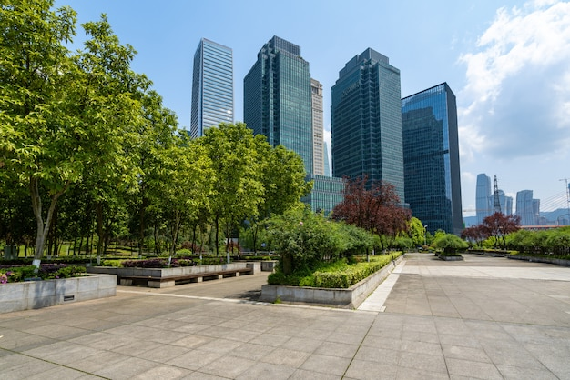 Central park lawn and office buildings