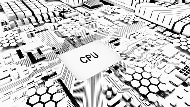 Central processing unitworking processing technologycpu on circuit boardblack and white tone