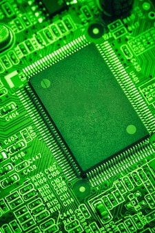 Central processor chip on circuit board, technology concept