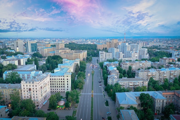 The central street of kharkiv aerial drone shot at sunset architecture of kharkiv science avenue der...