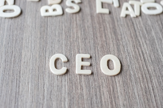 Ceo word of wooden alphabet letters. business and idea concept