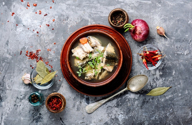 Ceramic bowl with fish soup