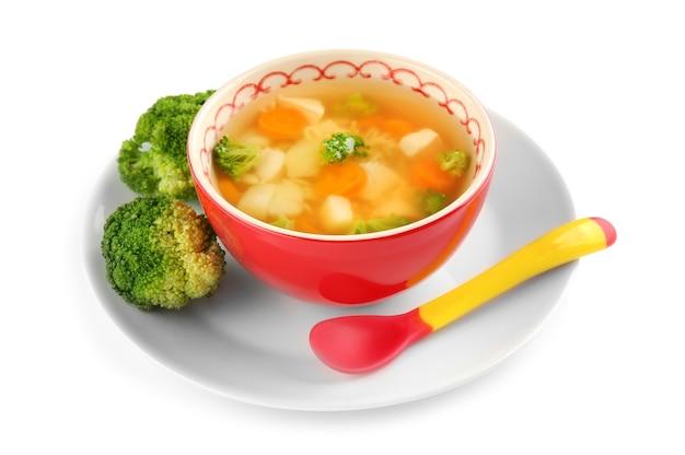 화이트에 아기를위한 수프와 세라믹 그릇