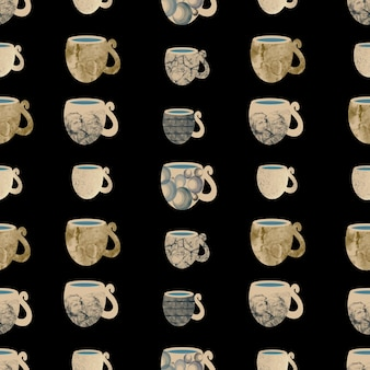 세라믹 골드 컵 원활한 패턴 handdrawn 그림