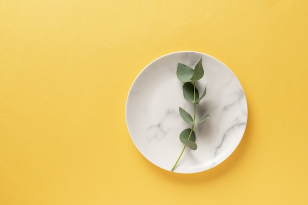 Ceramic marble plate with eucalyptus branch. color of the year 2021