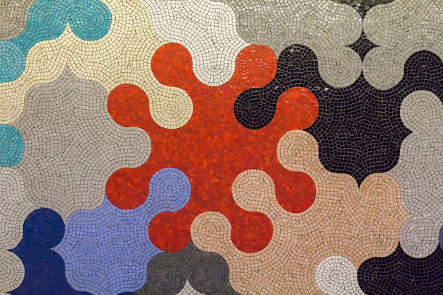 Ceramic mosaic in puzzle shapes