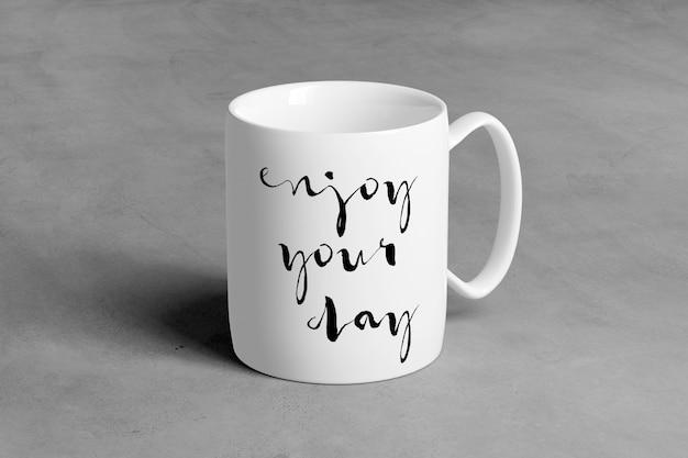 Ceramic mug on a concrete