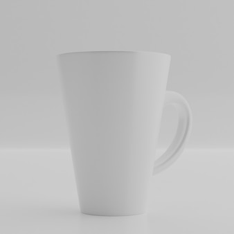 Ceramic mug on white wall. blank drink cup for your design.