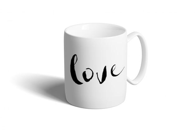 Ceramic mug on a white