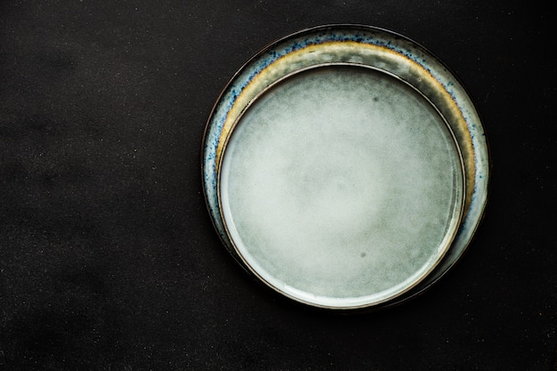 Ceramic plate on dark background