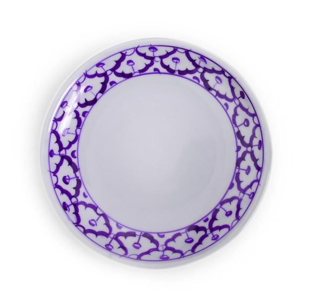 흰색 배경에 고립 된 세라믹 접시