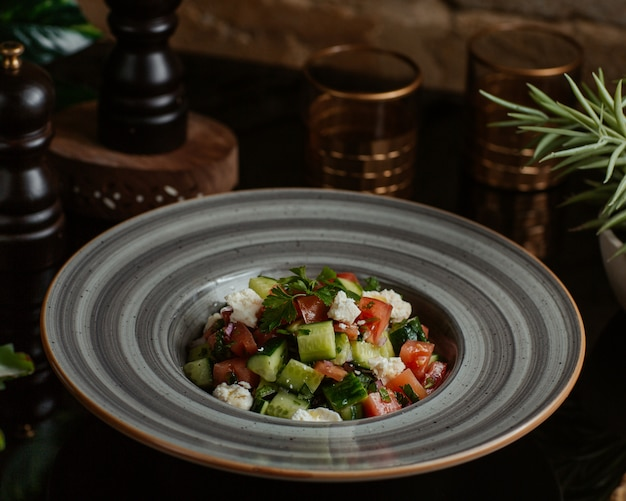 A ceramic plate of square cut vegetables and herbs salad