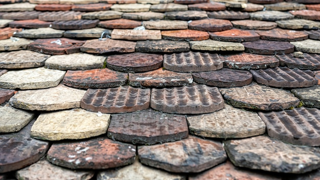 Ceramic roof tiles on an old roof, geneva, switzerland