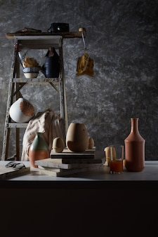 Ceramic studio equipment for craft work with clay.