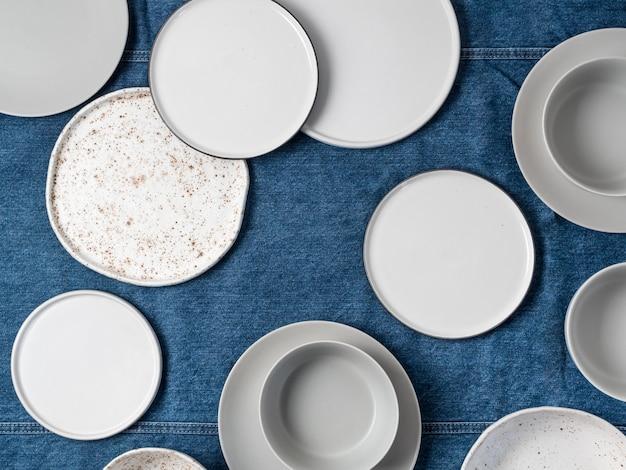 Ceramic tableware, top view