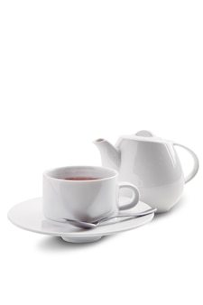 Ceramic tea cup and pot with dilmah tea isolated on white