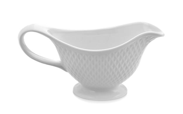 Ceramic teapot on white