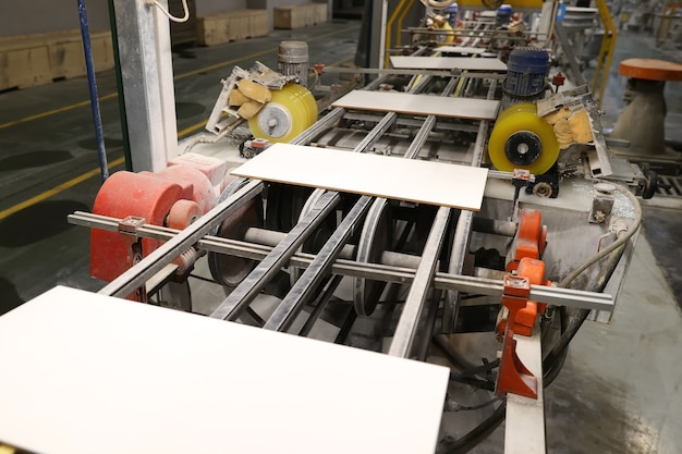 Ceramic tile production line at the factory