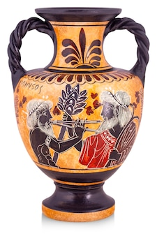 The ceramic vase from greece isolated on white.