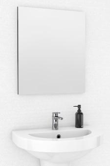 壁の前のセラミック洗面台と鏡