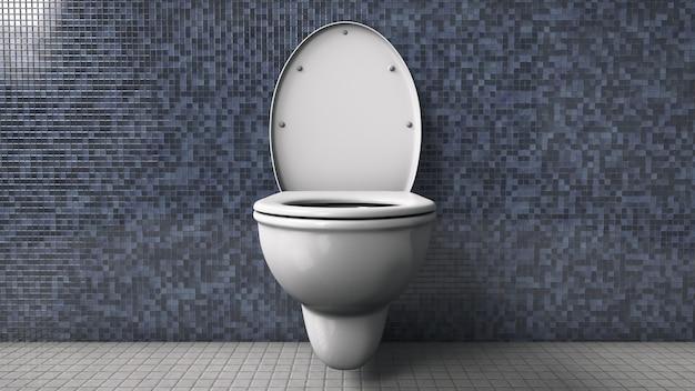 トイレのセラミック白い便器。無人