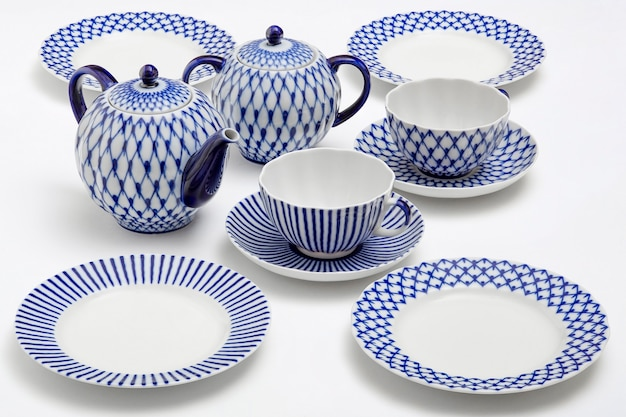 Ceramic white with blue pattern cups, plates