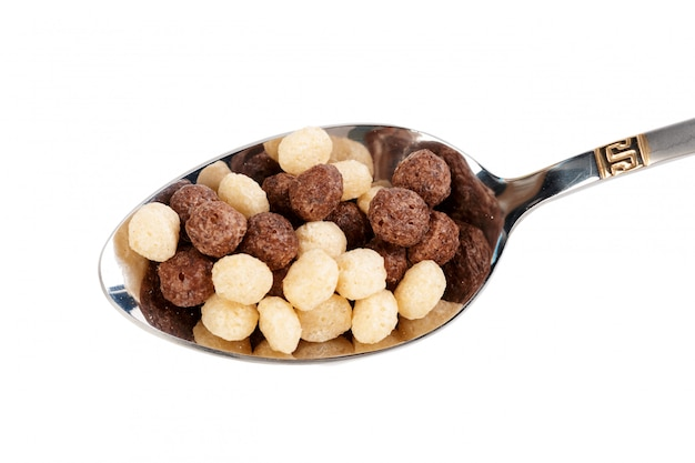 Cereal balls for breakfast isolated on white