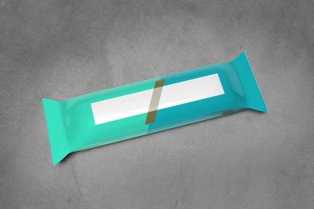 Cereal bar packaging on concrete - 3d rendering