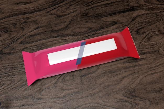 Cereal bar packaging on wood - 3d rendering