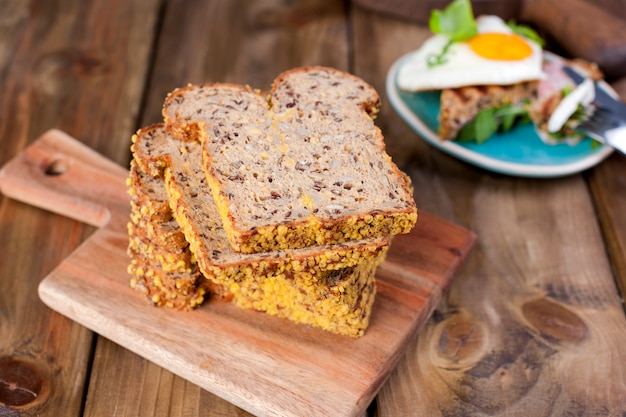 Cereal bread on a wooden