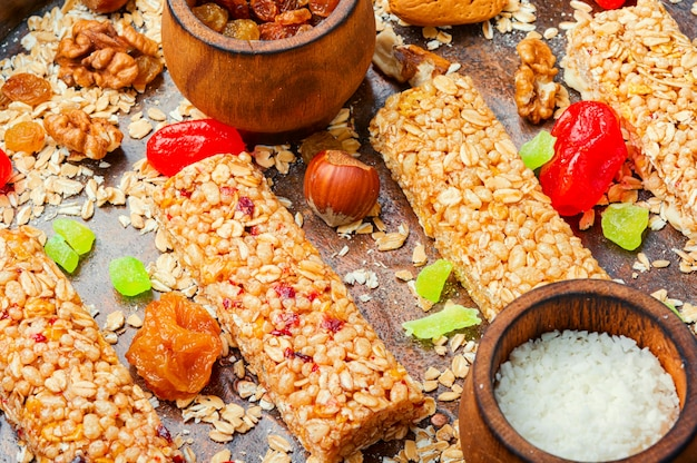 Cereal granola bars with nuts and mix dry berries.healthy sweet dessert