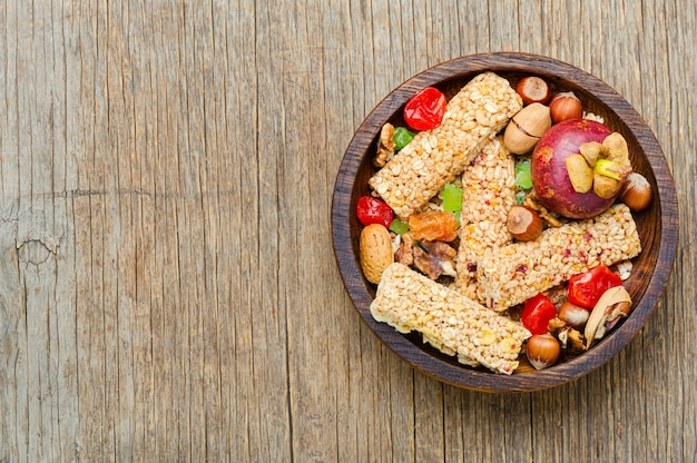 Cereal granola bars with nuts and mix dry berries