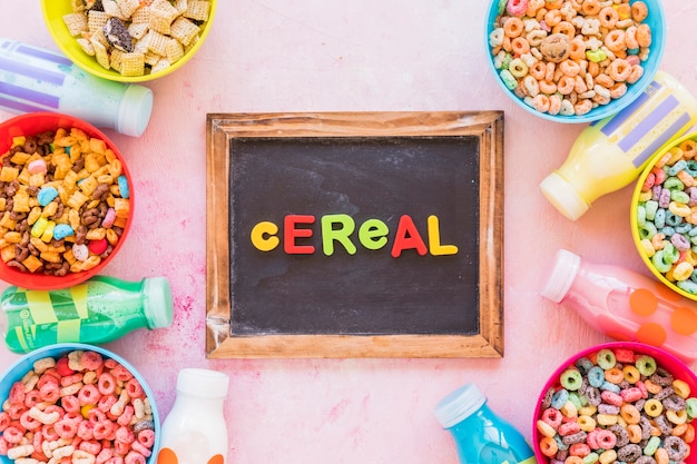 Cereal inscription on chalkboard