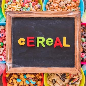 Cereal inscription on old chalkboard on bowls