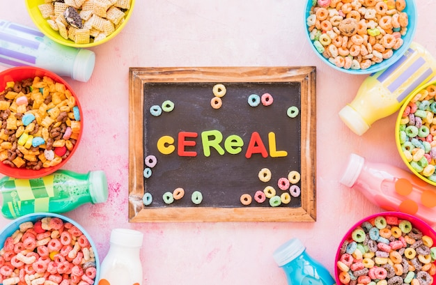 Cereal inscription on wooden chalkboard