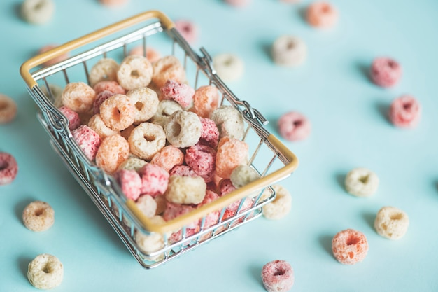 Cereal in a shopping basket